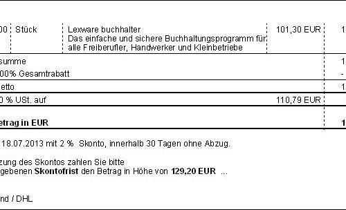 Auftragsformular mit Zahlbetrag nach Skonto (Faktura 2013)